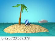 Остров в океане с пальмой и шезлонгом. Стоковая иллюстрация, иллюстратор Rashpil / Фотобанк Лори
