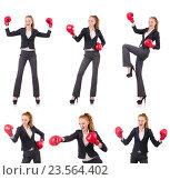 Купить «Woman businesswoman with boxing gloves on white», фото № 23564402, снято 2 октября 2013 г. (c) Elnur / Фотобанк Лори