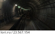 Купить «Shot of train goes underground subway.», видеоролик № 23567154, снято 19 апреля 2016 г. (c) Данил Руденко / Фотобанк Лори