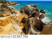 Купить «Atlantic rocky coast view (Algarve, Portugal).», фото № 23567706, снято 22 мая 2016 г. (c) Юрий Брыкайло / Фотобанк Лори
