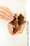 Купить «Женские руки держат кусочки шоколада», фото № 23573534, снято 8 сентября 2016 г. (c) Екатерина Тарасенкова / Фотобанк Лори