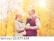smiling couple in autumn park, фото № 23577634, снято 12 октября 2014 г. (c) Syda Productions / Фотобанк Лори