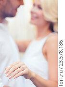 Купить «romantic man proposing to beautiful woman», фото № 23578186, снято 14 июля 2013 г. (c) Syda Productions / Фотобанк Лори