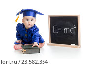 funny child in academician clothes at chalkboard. Стоковое фото, фотограф Оксана Кузьмина / Фотобанк Лори