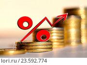 Купить «Красный знак процента на фоне денег», фото № 23592774, снято 24 апреля 2016 г. (c) Сергеев Валерий / Фотобанк Лори