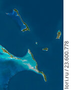 Купить «Satellite view of Cat Island, Great Exuma and Long Island, Bahamas. San Salvador Island and Rum Cay are also to be seen on the image. This image was compiled from data acquired by Landsat satellites.», фото № 23600778, снято 22 июля 2019 г. (c) age Fotostock / Фотобанк Лори