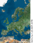 Купить «Satellite view of Europe. This image was compiled from data acquired by Landsat 7 & 8 satellites.», фото № 23601078, снято 22 июля 2019 г. (c) age Fotostock / Фотобанк Лори