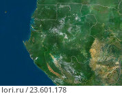 Купить «Satellite view of Gabon and Equatorial Guinea (with country boundaries). This image was compiled from data acquired by Landsat satellites.», фото № 23601178, снято 22 июля 2019 г. (c) age Fotostock / Фотобанк Лори