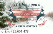 Купить «Illustration of christmas greeting and new year message», видеоролик № 23601478, снято 17 июня 2019 г. (c) Wavebreak Media / Фотобанк Лори