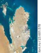 Купить «Satellite view of Qatar and Bahrain. This image was compiled from data acquired by Landsat 8 satellite in 2014.», фото № 23601578, снято 22 июля 2019 г. (c) age Fotostock / Фотобанк Лори