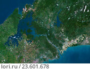 Купить «Satellite view of Panama Canal. This image was compiled from data acquired by Landsat satellites.», фото № 23601678, снято 22 июля 2019 г. (c) age Fotostock / Фотобанк Лори