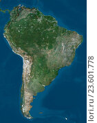 Купить «Satellite view of South America. This image was compiled from data acquired by Landsat 7 & 8 satellites.», фото № 23601778, снято 22 июля 2019 г. (c) age Fotostock / Фотобанк Лори