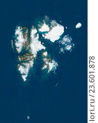 Купить «Satellite view of Svalbard, Norway. It is a Norwegian archipelago in the Arctic Ocean. This image was compiled from data acquired by Landsat satellites.», фото № 23601878, снято 22 июля 2019 г. (c) age Fotostock / Фотобанк Лори
