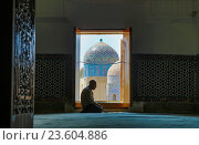 Купить «Asia, Uzbekistan, Samarkand, Man saying grace in mosque.», фото № 23604886, снято 14 ноября 2018 г. (c) age Fotostock / Фотобанк Лори