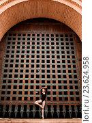 Купить «Slim dancer stands on one leg near the old gate», фото № 23624958, снято 18 января 2019 г. (c) age Fotostock / Фотобанк Лори