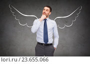 Купить «businessman with angel wings over gray», фото № 23655066, снято 17 ноября 2018 г. (c) Syda Productions / Фотобанк Лори