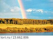 Autumn rural landscape - birds eye view of autumn forest and bright rainbow, фото № 23662806, снято 1 августа 2015 г. (c) Зезелина Марина / Фотобанк Лори