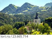 Купить «A panoramic view of catholic church in Switzerland, Canton of Fribourg», фото № 23665714, снято 3 июля 2016 г. (c) Юлия Кузнецова / Фотобанк Лори