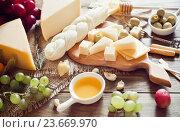 Купить «Разные виды сыра, мед и виноград на столе», фото № 23669970, снято 8 марта 2016 г. (c) Вероника Галкина / Фотобанк Лори