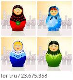 Купить «Traditional russian matryoshka dolls», фото № 23675358, снято 25 октября 2013 г. (c) easy Fotostock / Фотобанк Лори