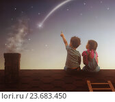 Купить «Boy and girl make a wish», фото № 23683450, снято 21 марта 2016 г. (c) Константин Юганов / Фотобанк Лори