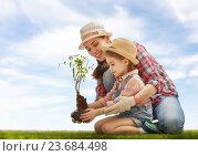 Купить «girl plant sapling tree», фото № 23684498, снято 27 февраля 2016 г. (c) Константин Юганов / Фотобанк Лори