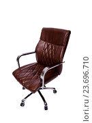 Купить «Brown leather office chair isolated on white», фото № 23696710, снято 26 мая 2016 г. (c) Elnur / Фотобанк Лори