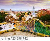 Купить «Details of Park Guell in Barcelona», фото № 23698742, снято 23 марта 2019 г. (c) Яков Филимонов / Фотобанк Лори