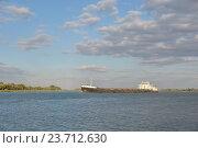 Грузовой корабль плывет по реке. Стоковое фото, фотограф Михаил Бессмертный / Фотобанк Лори