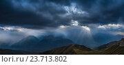 Купить «Ливень над хребтом Мамхурц и Имеретинским горным узлом. Карачаево-Черкесия.», фото № 23713802, снято 20 сентября 2016 г. (c) Абрамова Ксения / Фотобанк Лори