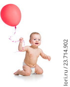 Купить «Smiling baby boy with red ballon in his hand isolated on white», фото № 23714902, снято 4 марта 2013 г. (c) Оксана Кузьмина / Фотобанк Лори