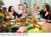 Купить «Relatives celebrate Christmas at table», фото № 23715374, снято 24 мая 2018 г. (c) Яков Филимонов / Фотобанк Лори