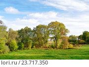 Купить «Autumn nature landscape- autumn park in autumn sunny evening», фото № 23717350, снято 4 октября 2015 г. (c) Зезелина Марина / Фотобанк Лори