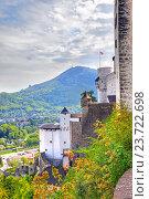 Вид на город Зальцбург из замка Хоэнзальцбург на горе Фестунг (2012 год). Стоковое фото, фотограф Parmenov Pavel / Фотобанк Лори