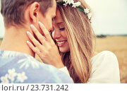 happy smiling young hippie couple outdoors, фото № 23731242, снято 27 августа 2015 г. (c) Syda Productions / Фотобанк Лори