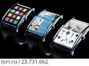 Купить «close up of smart watch with apps on screen», фото № 23731662, снято 11 ноября 2015 г. (c) Syda Productions / Фотобанк Лори
