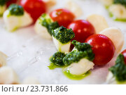 Купить «close up of mozzarella and cherry tomato canape», фото № 23731866, снято 11 июня 2016 г. (c) Syda Productions / Фотобанк Лори
