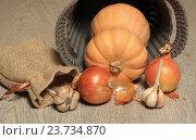 Купить «Тыква, лук и чеснок на деревянном столе крупным планом», эксклюзивное фото № 23734870, снято 8 октября 2016 г. (c) Яна Королёва / Фотобанк Лори