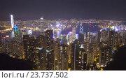Гонконг ночью от пика Виктории, timelapse (2016 год). Редакционное видео, видеограф Михаил Коханчиков / Фотобанк Лори