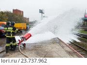 Купить «Пожарный поезд. Учения по гражданской обороне. Смотр экстренной и аварийно-спасательной техники», эксклюзивное фото № 23737962, снято 6 октября 2016 г. (c) Алексей Бок / Фотобанк Лори