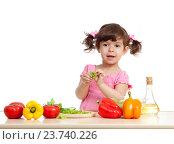 Купить «adorable kid girl preparing healthy food», фото № 23740226, снято 21 мая 2012 г. (c) Оксана Кузьмина / Фотобанк Лори