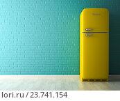 Купить «Интерьер с желтым холодильником, 3D-рендеринг», иллюстрация № 23741154 (c) Hemul / Фотобанк Лори