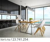 Купить «Интерьер современной комнаты со столом и белыми стульями», иллюстрация № 23741254 (c) Hemul / Фотобанк Лори