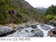 Живописное ущелье Дугоба в Киргизской Республике (2016 год). Стоковое фото, фотограф Дмитрий Шульгин / Фотобанк Лори