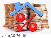 Купить «Красный знак процента на фоне денег», фото № 23764194, снято 13 февраля 2016 г. (c) Сергеев Валерий / Фотобанк Лори