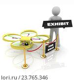 Купить «Дрон, квадрокоптер на технической выставке, 3d иллюстрация», иллюстрация № 23765346 (c) Guru3d / Фотобанк Лори