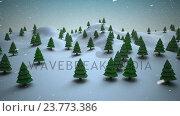 Купить «Christmas trees on a snowy landscape», видеоролик № 23773386, снято 4 апреля 2020 г. (c) Wavebreak Media / Фотобанк Лори