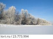 Купить «Зимний пейзаж в морозный солнечный день», фото № 23773994, снято 22 января 2014 г. (c) Елена Коромыслова / Фотобанк Лори