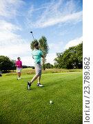 Купить «Male instructor assisting woman in learning golf», фото № 23789862, снято 20 июля 2016 г. (c) Wavebreak Media / Фотобанк Лори
