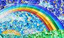 Иллюстрации в стиле витраж, абстрактный пейзаж, поле, солнце, небо и радуга, иллюстрация № 23802942 (c) Наталья Загорий / Фотобанк Лори